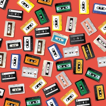 ビンテージレトロなカセットテープパターンのデザインテンプレート