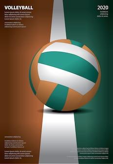 Волейбол турнир плакат шаблон дизайн иллюстрация