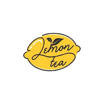 シンプルな活版印刷スタイルのレモンティーのロゴ