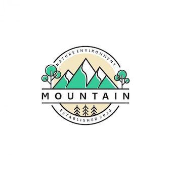 Наружная гора природа логотип приключение дикая природа сосновый лес