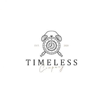 ビンテージラインアートスタイルの古い目覚まし時計のロゴ