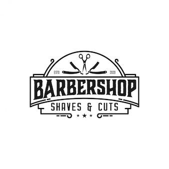 Барбершоп логотип элегантный винтаж с ножницами и бритвенными элементами