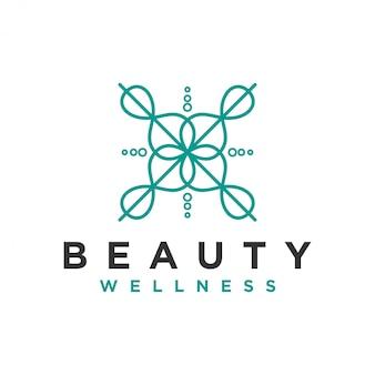 ヨガマッサージやスパ、美容ビジネス向けのエレガントなラインアートスタイルのシンプルで清潔なモダンなウェルネスロゴ。