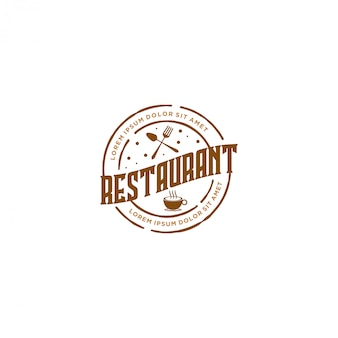 Логотип с едой и напитками, ресторан в винтажном стиле и кафе-бар