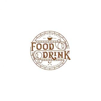 フードドリンクのロゴ-ビンテージスタイルのレストランとカフェバー