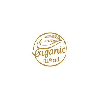 農業のロゴ-小麦の農業