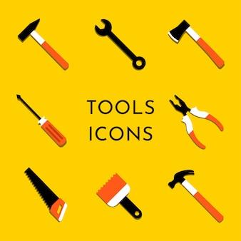 カラフルなベクトルアイコンは、家の修理と作業ツールを設定します。