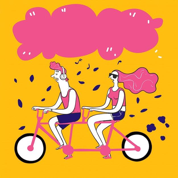 手描きのカップルはバイクを取る。