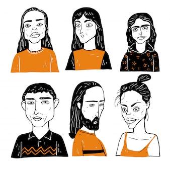 多様な手描きの顔のコレクション。