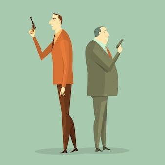 ビジネスマンからの銃撃戦。イラストビジネスコンセプトチャレンジの企業。