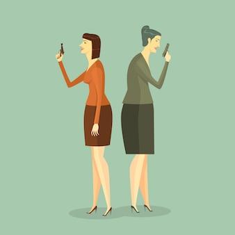 ビジネス女性は銃撃戦に。イラストビジネスコンセプトチャレンジの企業。