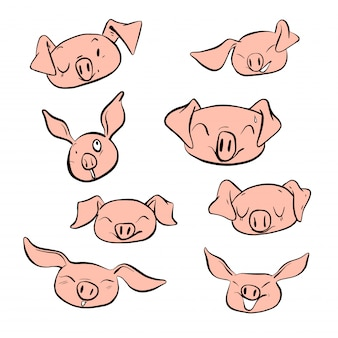 Векторные иллюстрации набор дизайн различные эмоции лицо свиньи.