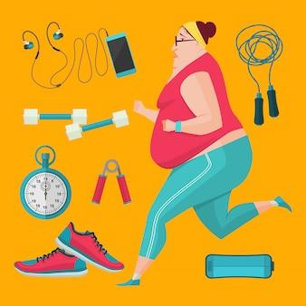 体重を減らすためにジョギングする肥満女性。イラストフラットスタイルのフィットネス機器。