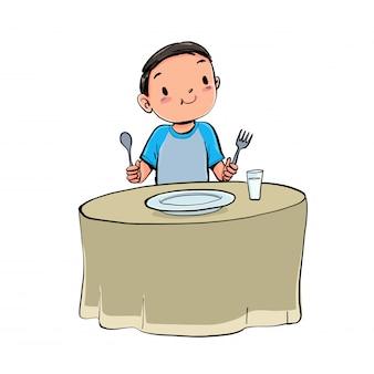 少年は昼食を取る。