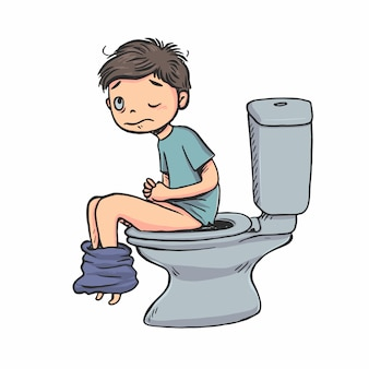 少年は朝にトイレに座っている