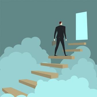 Бизнесмен восхождение лестницы над облаком