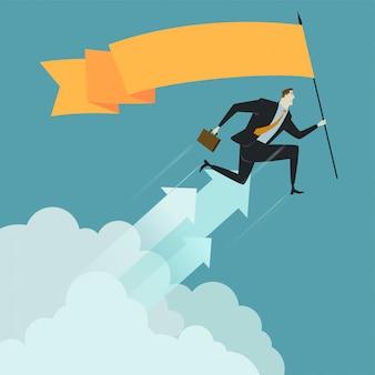 ビジネスマンは雲の上に旗を保持します。