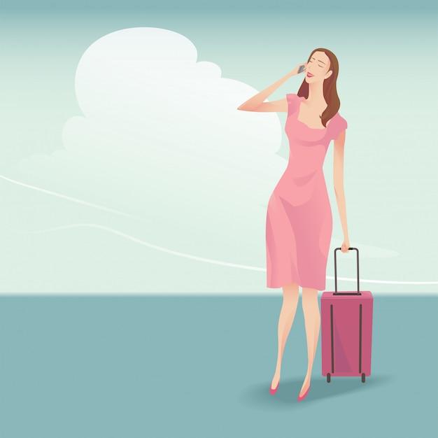 かわいい女性旅行者