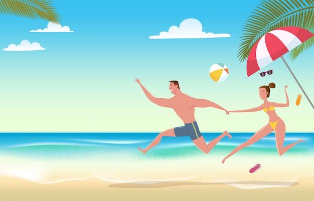 ビーチの休暇のカップル。