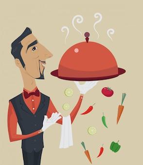 食品のプレートを保持している男性のウェイター