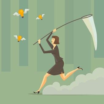 緑の森でスイープネットを持つ若い女性。