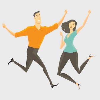 若い男と若い女ジャンプ、笑顔と幸せ。