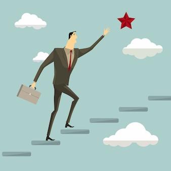 梯子の上のビジネスマンは雲の上の星をつかみます