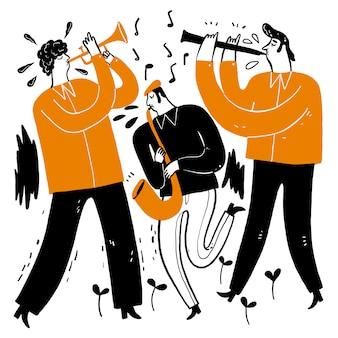 音楽を演奏するミュージシャンを描く手