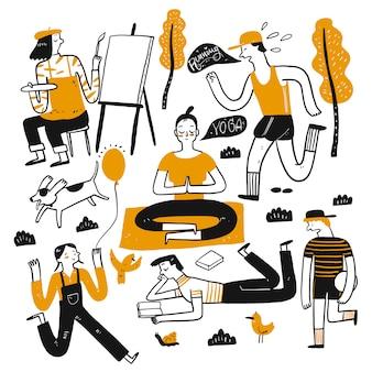 夏の暑い日には毎日使います。手描きのコレクション、スケッチ落書きスタイルのベクトル図。