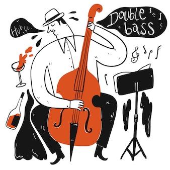Человек играет музыку. коллекция рисованной, векторные иллюстрации в стиле эскиз каракули.