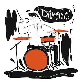 音楽を演奏する男。手描きのコレクション、スケッチ落書きスタイルのベクトル図。