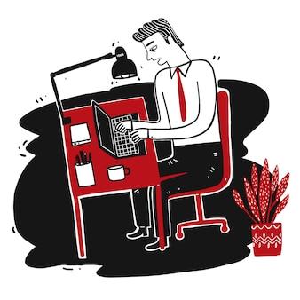 ビジネスの男性に座って、ノートブックでの作業