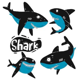 サメのシルエットのセット