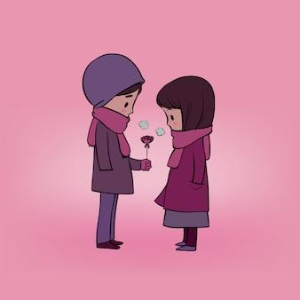 愛のバレンタインのカップル。