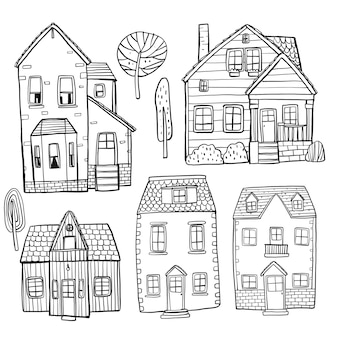 手描きの建物のセット