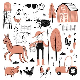 農業労働者のセット
