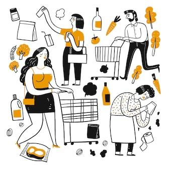 スーパーマーケットの人々の描画文字。