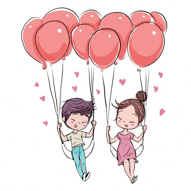 愛のバレンタインデーのかわいいカップル。