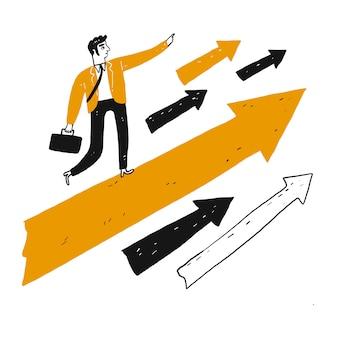 ビジョンを持つリーダーは大きなオレンジ色の矢印の上に立ち、先に突進します