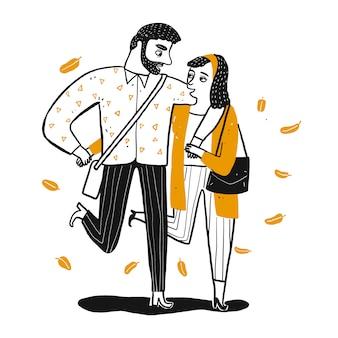 Пара гуляет, кто держит руку