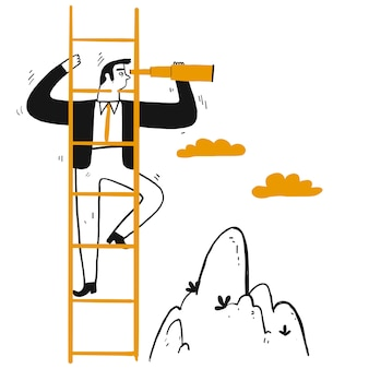 ビジネスマンリーダーがピークに階段を登る
