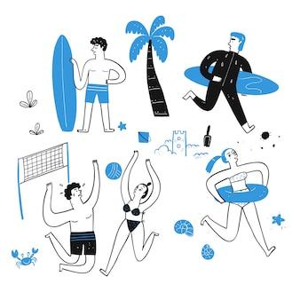 Активность людей на пляже