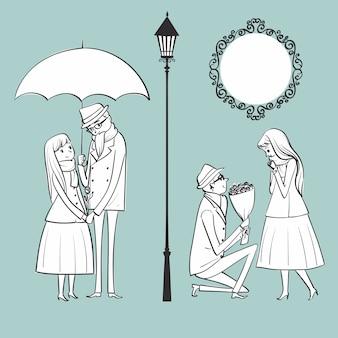冬の日に彼の恋人に花を与えている男のイラスト。
