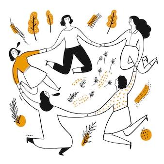 多くの女性が輪になって手を繋いでいます