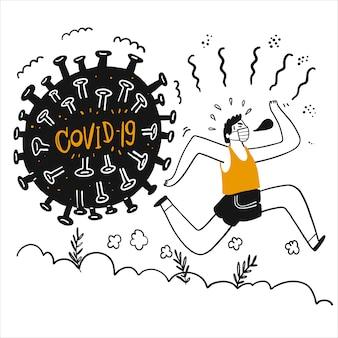 Молодой человек убегает от микробов или коронавируса