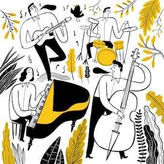 音楽を演奏するミュージシャンの手描き。