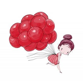 風船で飛ぶかわいい女の子。