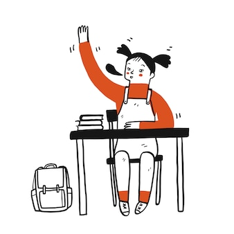 若い学生の女の子は彼女の手を持ち上げる