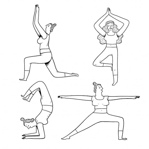 女性のための手の描画ヨガ演習のポーズのコレクション。