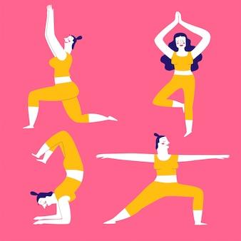 Коллекция ручных упражнений йоги для женщин.